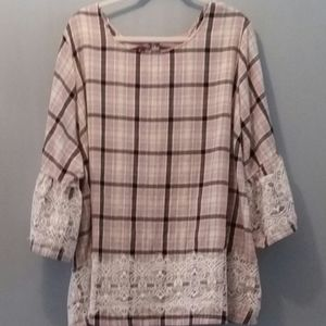 Lane Bryant Plaid Top/Lace trim & Bell Sleeves- 3X